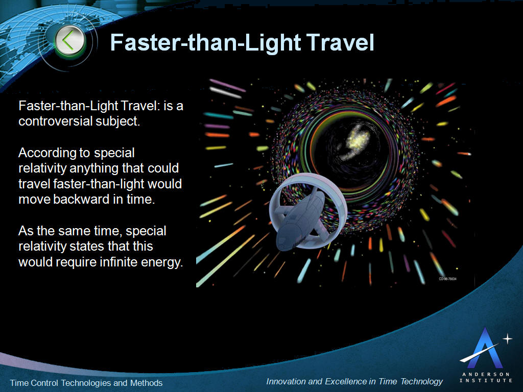 Faster Than Light Time Control And Travel