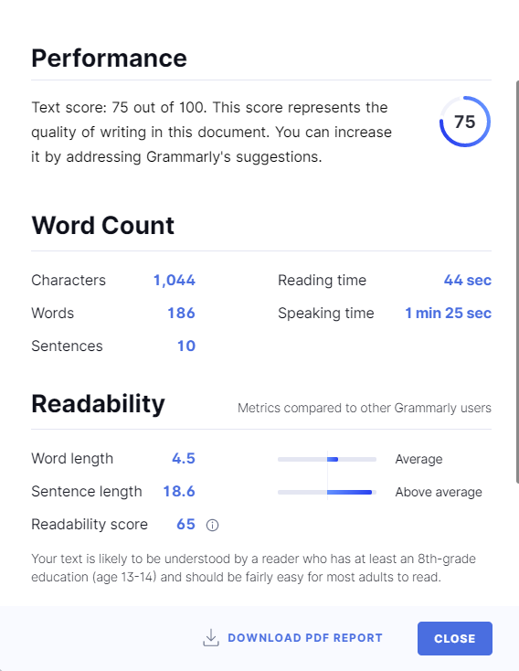 grammarly performance