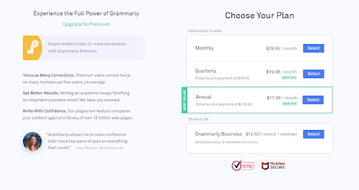 Grammarly price and plans