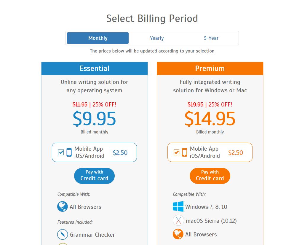 WhiteSmoke plans and pricing